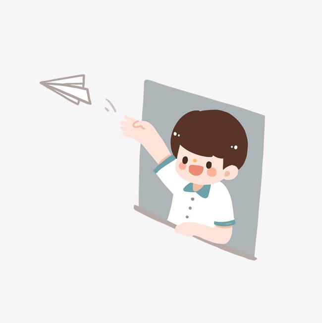 高考加油可恶卡通手绘扔纸飞机的男孩矢量图素材图片免费下载 高清psd 千 ...