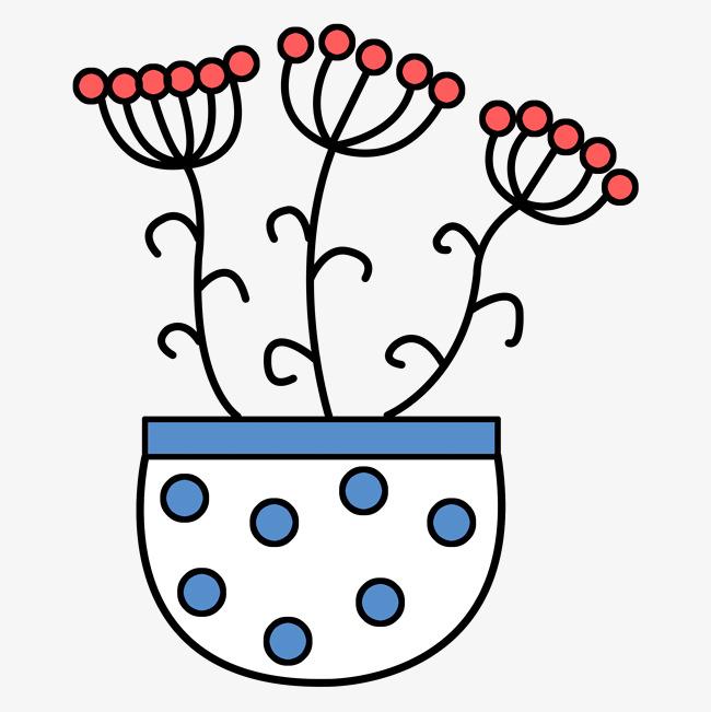三朵小花椭圆形简笔画盆栽素材图片免费下载 高清psd 千库网 图片编号