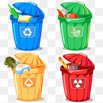 四色卡通环保分类垃圾桶图标