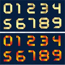 渐变折纸数字艺术字