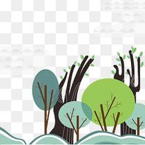 手绘树木矢量素材