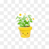 手绘小花植物小清新插画盆栽