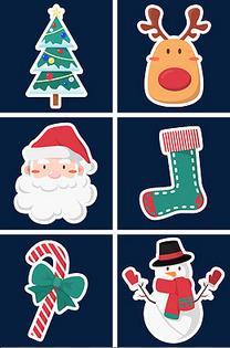 圣诞节红绿卡通可爱手绘免抠装饰图标贴纸