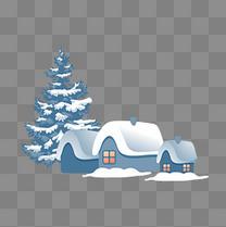 通用冬季雪房子树矢量图