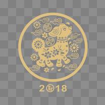 2018狗年黑色简约狗年剪纸卡通春节矢量图案