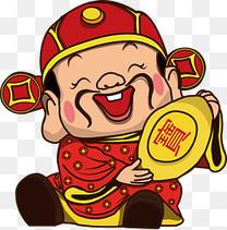 矢量春节恭喜发财财神到卡通人物免费下载