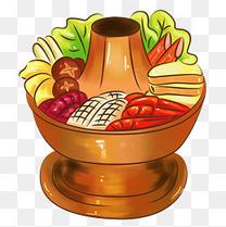 卡通美食新年餐饮东北菜海鲜火锅概念画