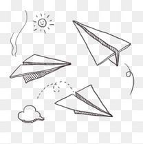 卡通手绘涂鸦线条纸飞机简笔画