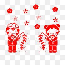 春节红色手绘卡通金童玉女手举鞭炮PNG