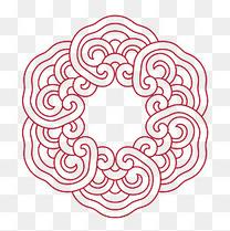 红色中国风边框古典祥云装饰