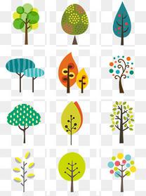 通用节日多彩卡通风活动促销绿色树PNG免抠元素