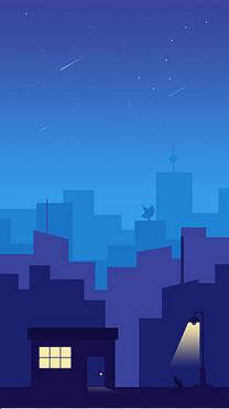 蓝色城市渐变插画背景