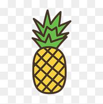 手绘卡通风格水果菠萝