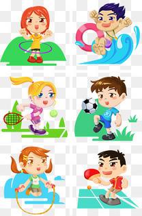 卡通运动系儿童插画系列