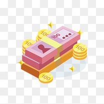 插画2.5D矢量风格一沓钞票与金币