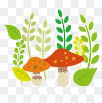 春天蘑菇草丛矢量元素