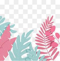 手绘清新大叶植物装饰