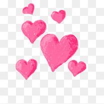 手绘粉红爱心情人节小清新立体卡通