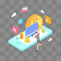 手绘人物金钱手机银行卡2.5D插画借贷金融理财