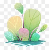 手绘简约扁平风植物叶子