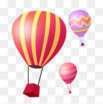 旅行扁平彩色热气球