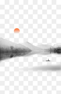 水墨淡彩湖光山色落日风景中国风元素