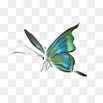 手绘水墨绿色蝴蝶