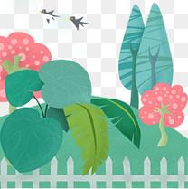 春天自然绿植风景插画元素