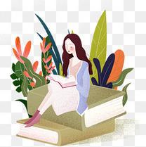 缤纷色彩女生坐在书上看书教育类型肌理插画