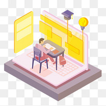 办公室线上学习办公2.5D立体风格矢量免抠图