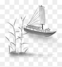 中国水墨古风船只