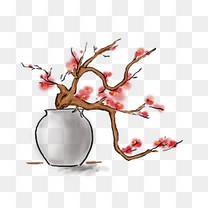中国水墨手绘梅花