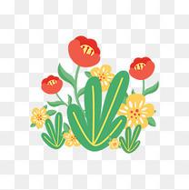 初夏矢量小清新花朵卡通夏季花草插画