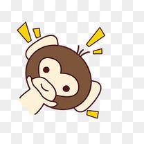 小清新动物手绘可爱猴子png