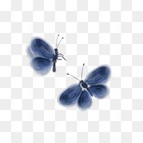 手绘古风蓝色蝴蝶