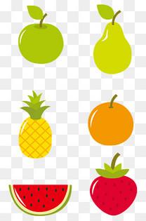 卡通矢量水果苹果草莓梨子西瓜菠萝橘子