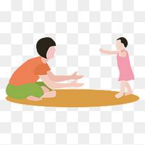 妈妈教女儿学走路矢量素材