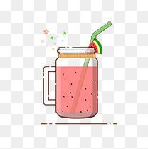 手绘矢量MBE风格夏日西瓜汁饮料