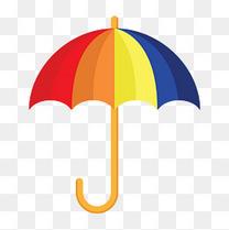 卡通矢量彩虹色雨伞