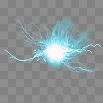 闪电蓝色光晕雷电元素
