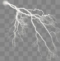 白色闪电不规则图形元素