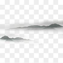 中国风水墨画远山流水云山雾罩黑白水墨画山水写意