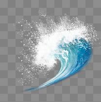 蓝色海浪白色浪花元素