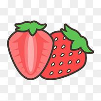 卡通矢量草莓水果