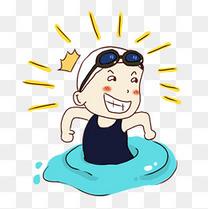 手绘卡通游泳女孩