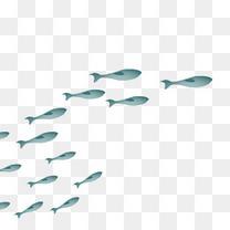 海底小鱼蓝色装饰插画