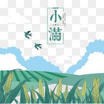 小满节气稻田燕子