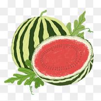 夏天原创红色绿色手绘肌理西瓜水果免抠图