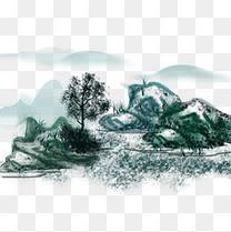 中国风山水画水墨天空海报设计