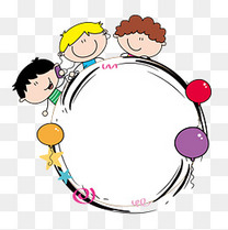 儿童节卡通气球边框设计素材
